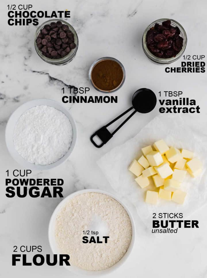 Ingredients needed to make Butterball Cookies