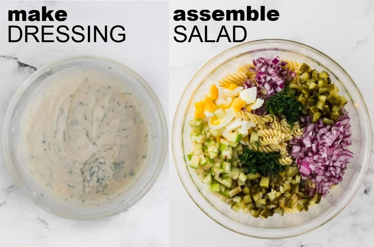 STEP: make dressing + STEP: assemble pasta salad ingredients