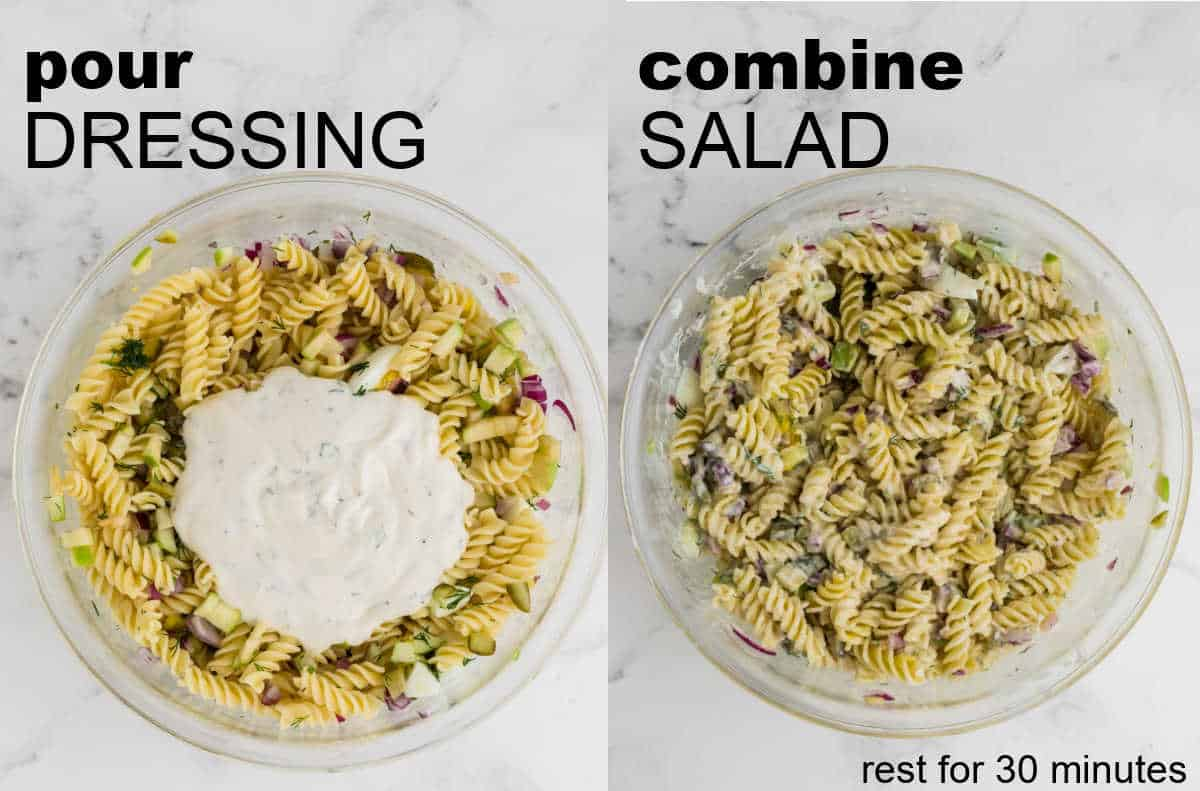 Step: Pour Dressing over the Salad and combine well + STEP: Allow salad to rest for 30 minutes