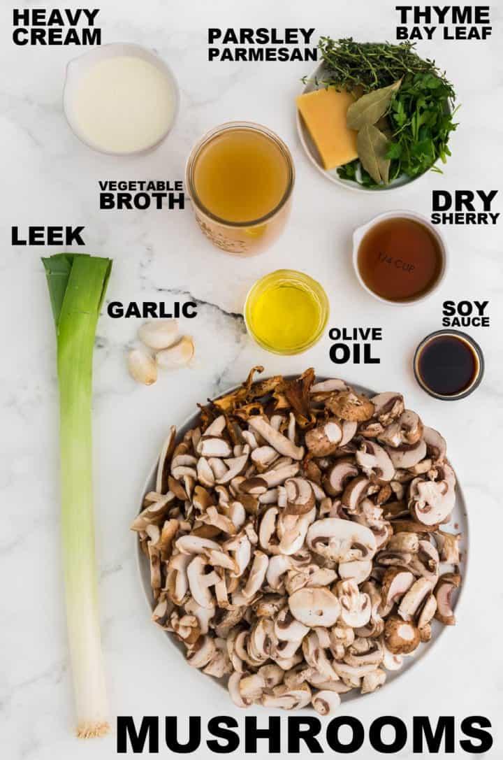 Ingredients needed to make Mushroom Soup