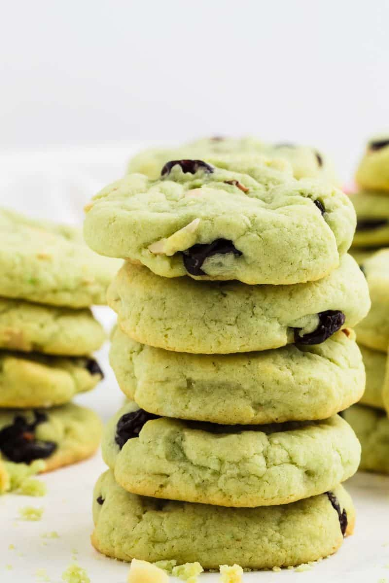 a stack of freshly baked Pistachio Cookies