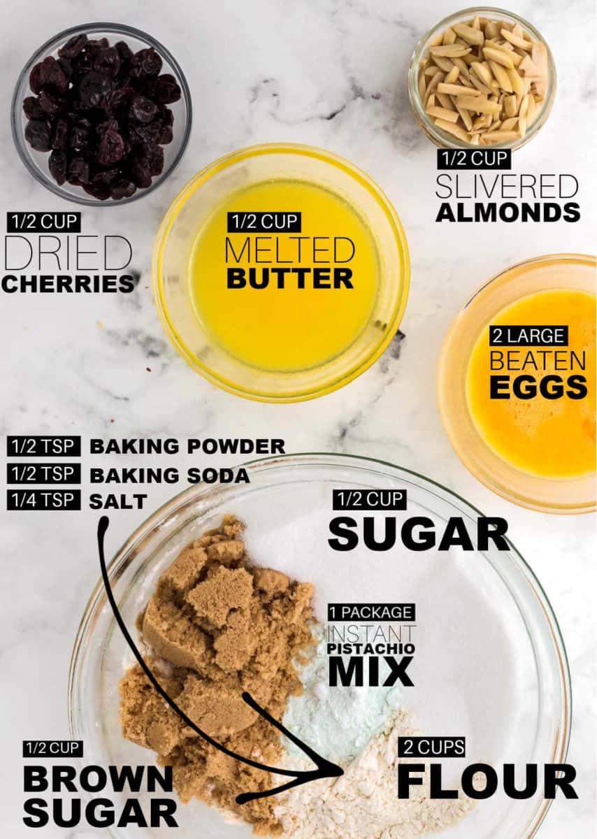Ingredients needed to bake Pistachio Cookies