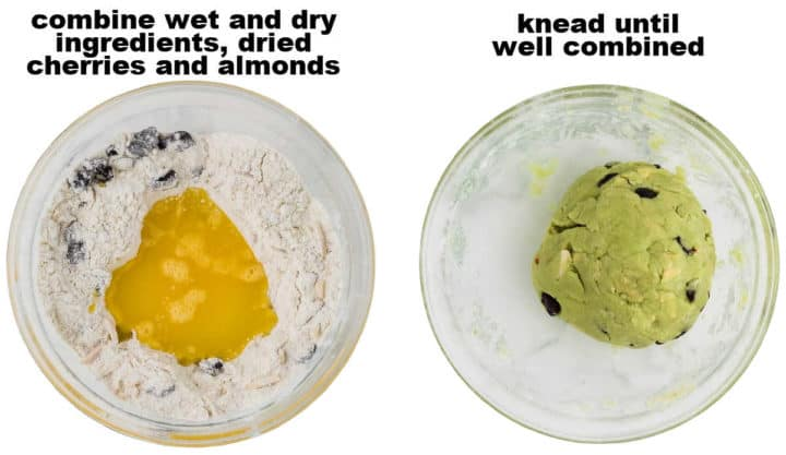 STEP: Combine wet and dry ingredients, fruit and nuts - STEP: knead until well combined