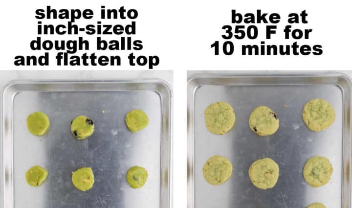 STEP: Shape into 1-inch dough balls, flatten - STEP: Bake at 350 Fahrenheit for 10 minutes
