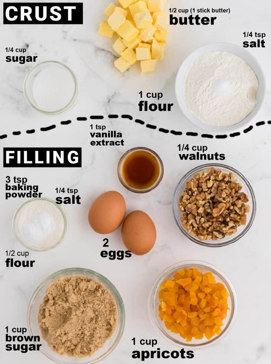 ingredients needed to make apricot bars