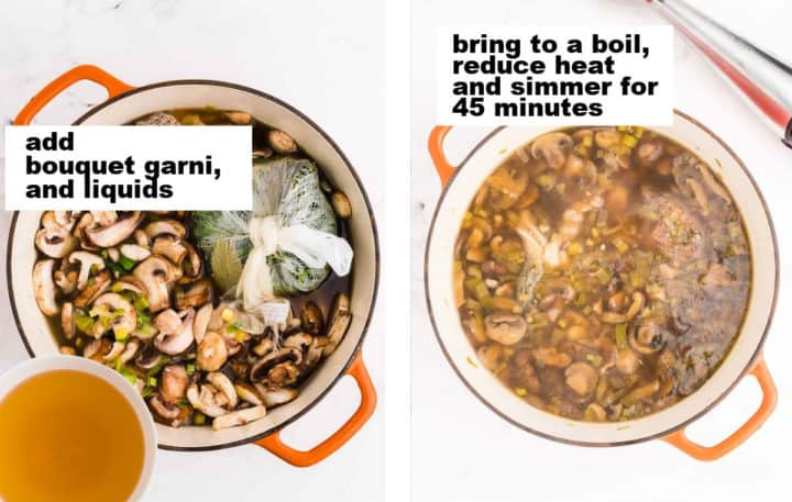 STEP: Adding mushrooms, boquet garni, and liquids to the soup pot