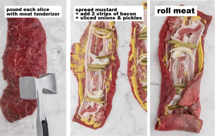 three steps: how to pound, fill, and roll the rouladen