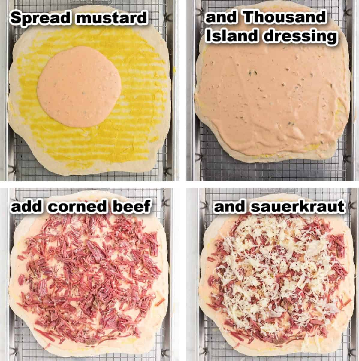 steps illustrating how to make Reuben Pizza