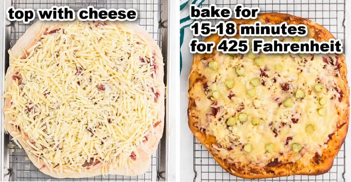 last steps to make a Reuben Pizza