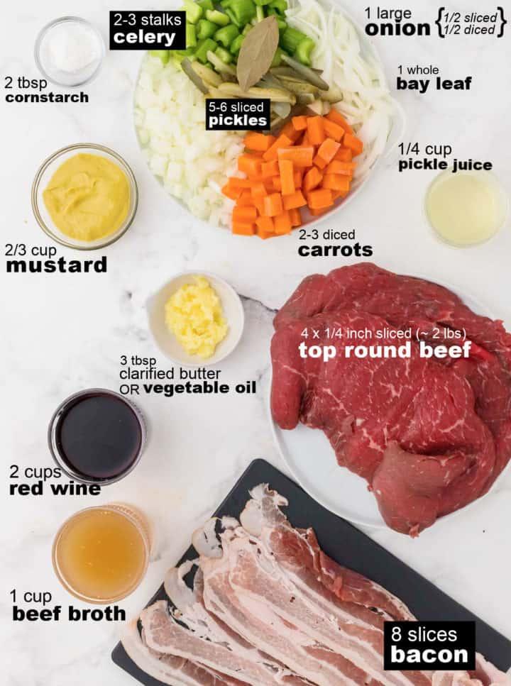 Ingredients needed to make German Rouladen (Rinderrouladen)