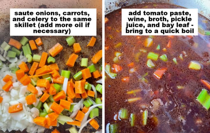 STEP 1 - adding the carrots, onion, and celery to the pan STEP 2 - adding liquids and seasoning to the skillet