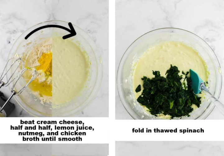 collage of images showing how to make the cream sauce for the salmon casserole