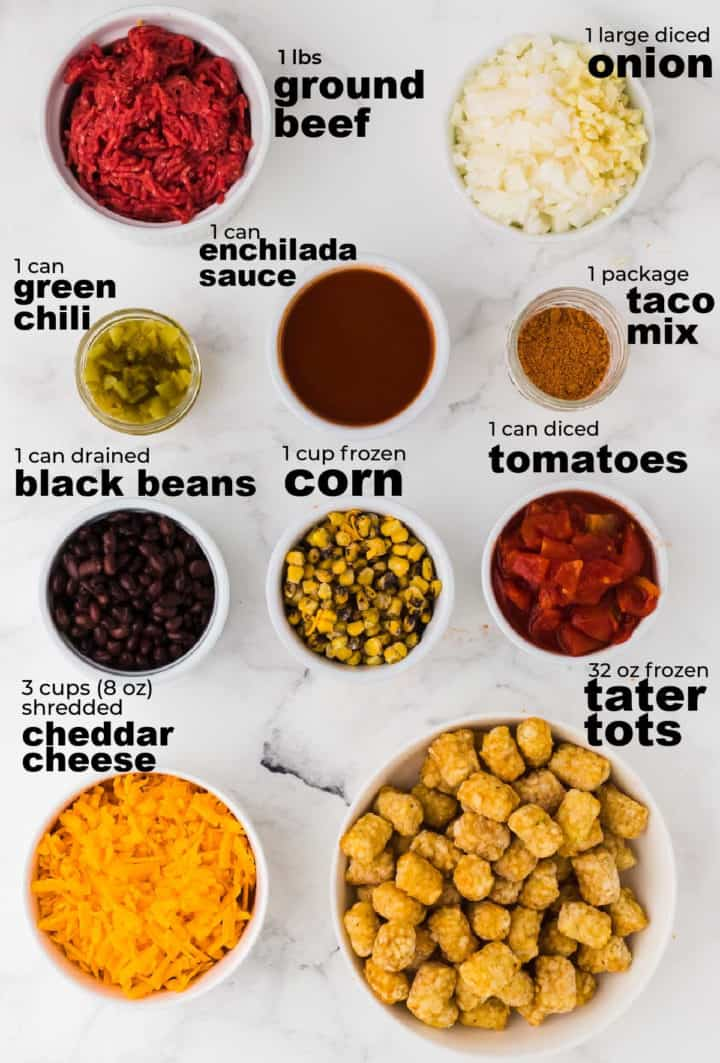 ingredients needed to make tater tot casserole