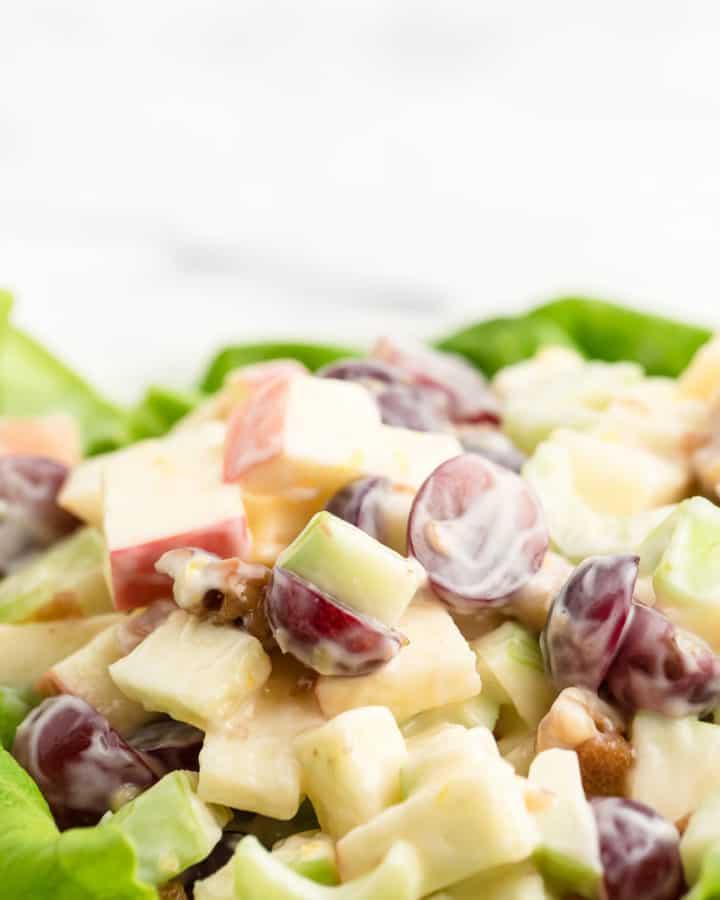 closeup of freshly tossed Waldorf Salad