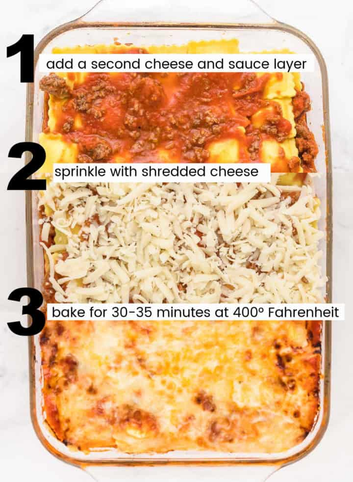 steps showing how to layer the lazy lasagna