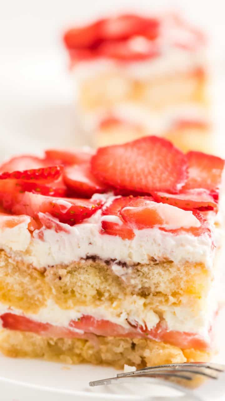 A slice of no bake strawberry tiramisu