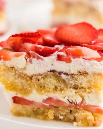 closeup image of a slice of homemade strawberry tiramisu
