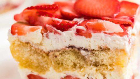 closeup image of a slice of homemade strawberry tiramisu