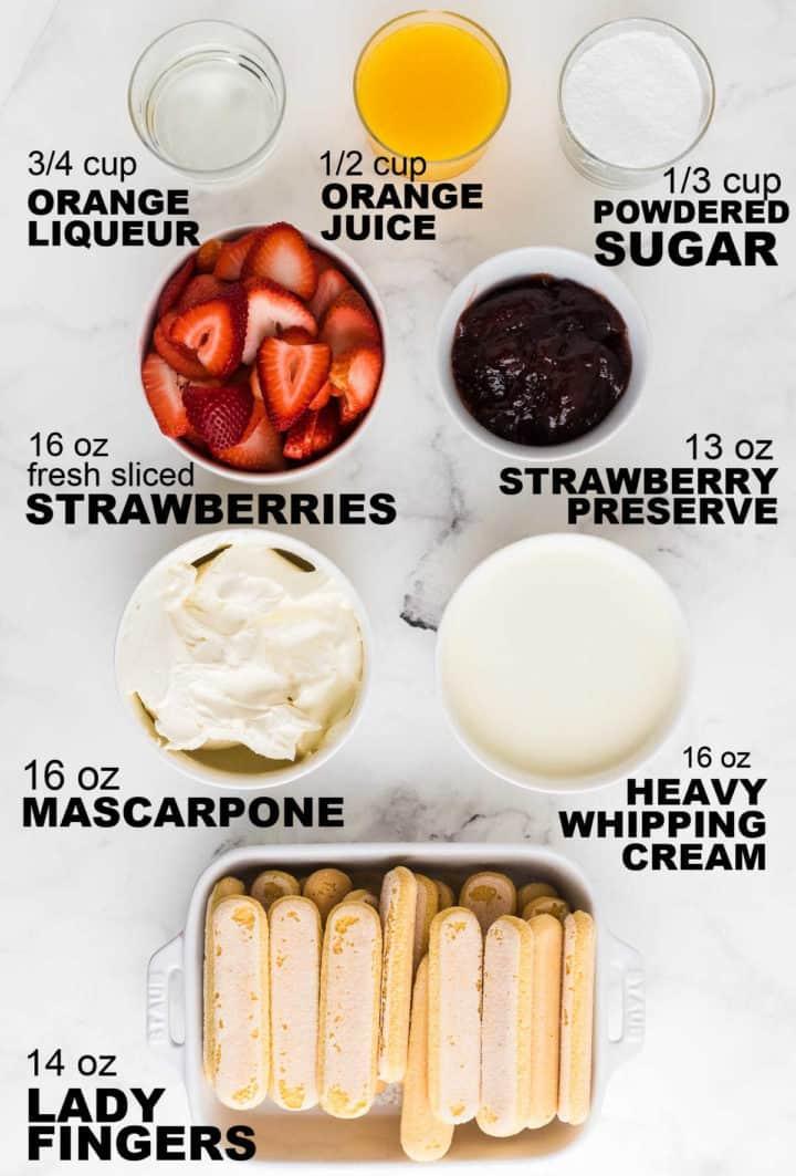 ingredients needed to make no bake Strawberry Tiramisu