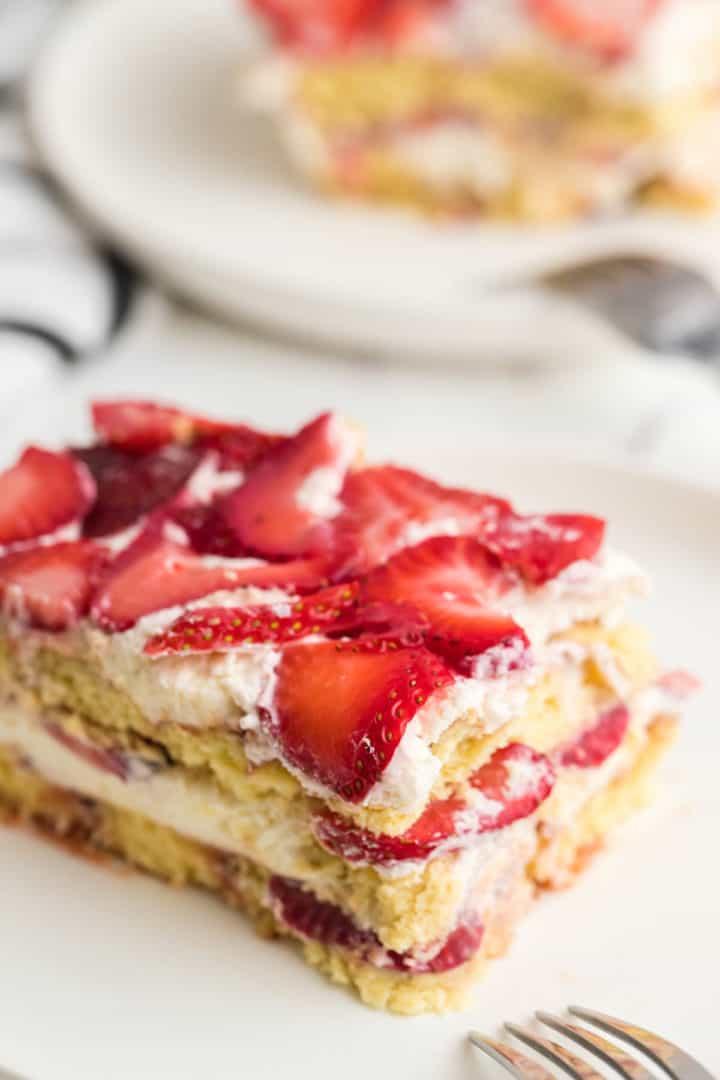 a closeup of a slice of freshly chilled Strawberry Tiramisu