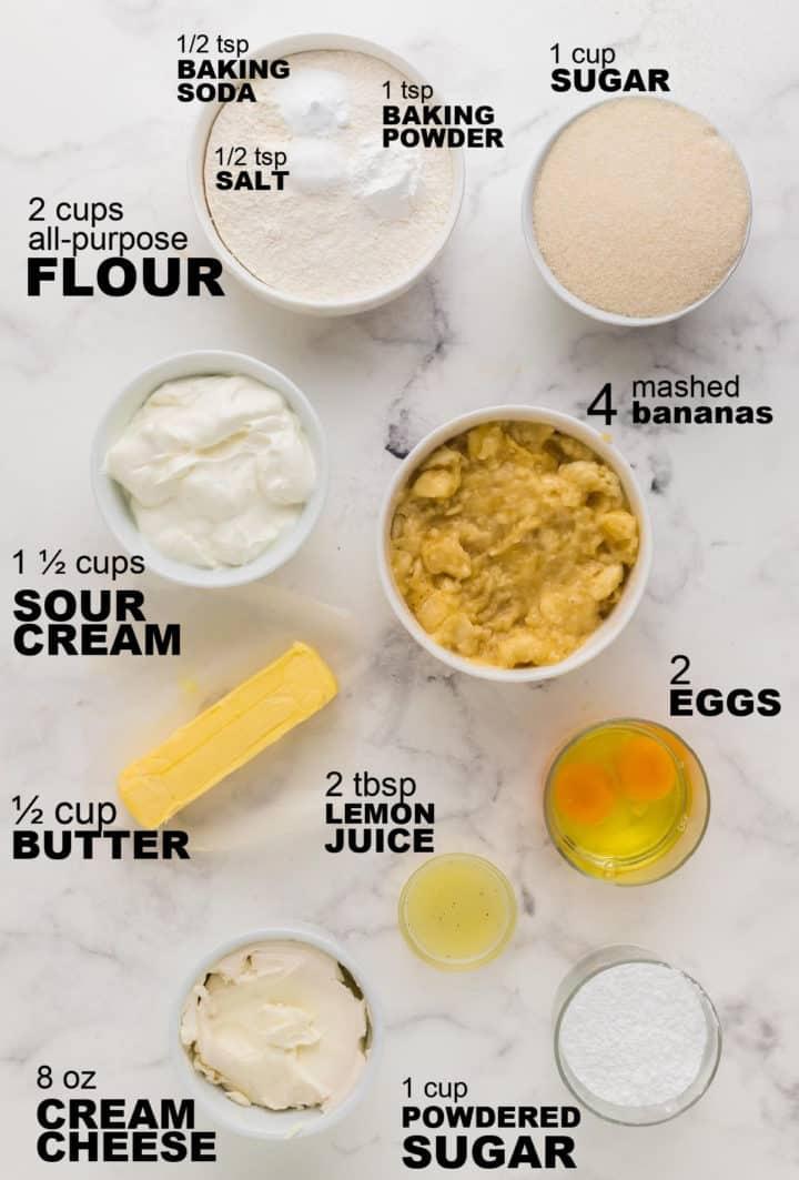 ingredients needed to make banana cake