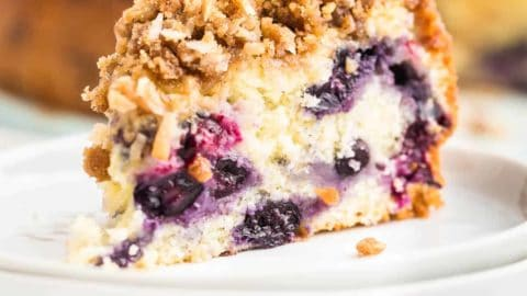 a slice of freshly baked blueberry coffee cake on a white plate