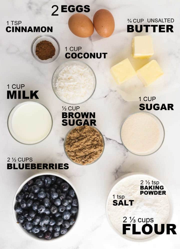 ingredients need to make a blueberry coffee cake