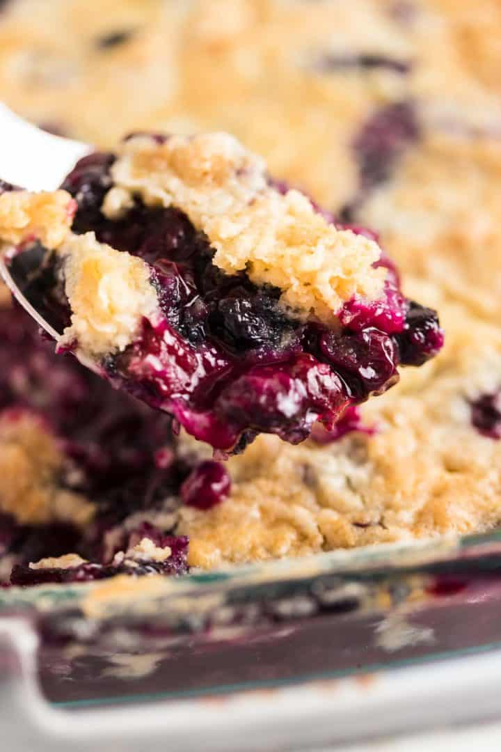 a spoonful of freshly baked blueberry dump cake