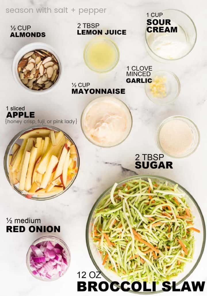 ingredients you need to make broccoli slaw