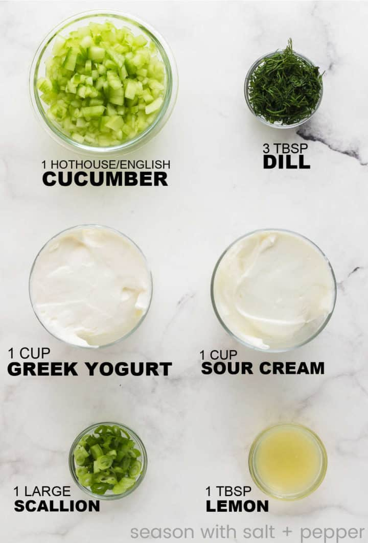 ingredients needed to make an easy Cucumber Dip