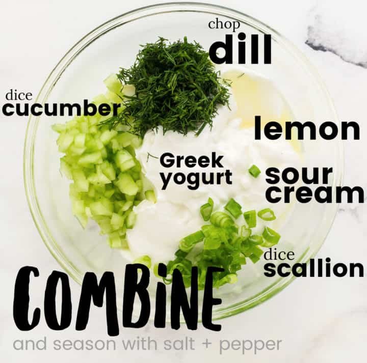 combining all of the prepared ingredients in large bowl to make an easy Cucumber Dip