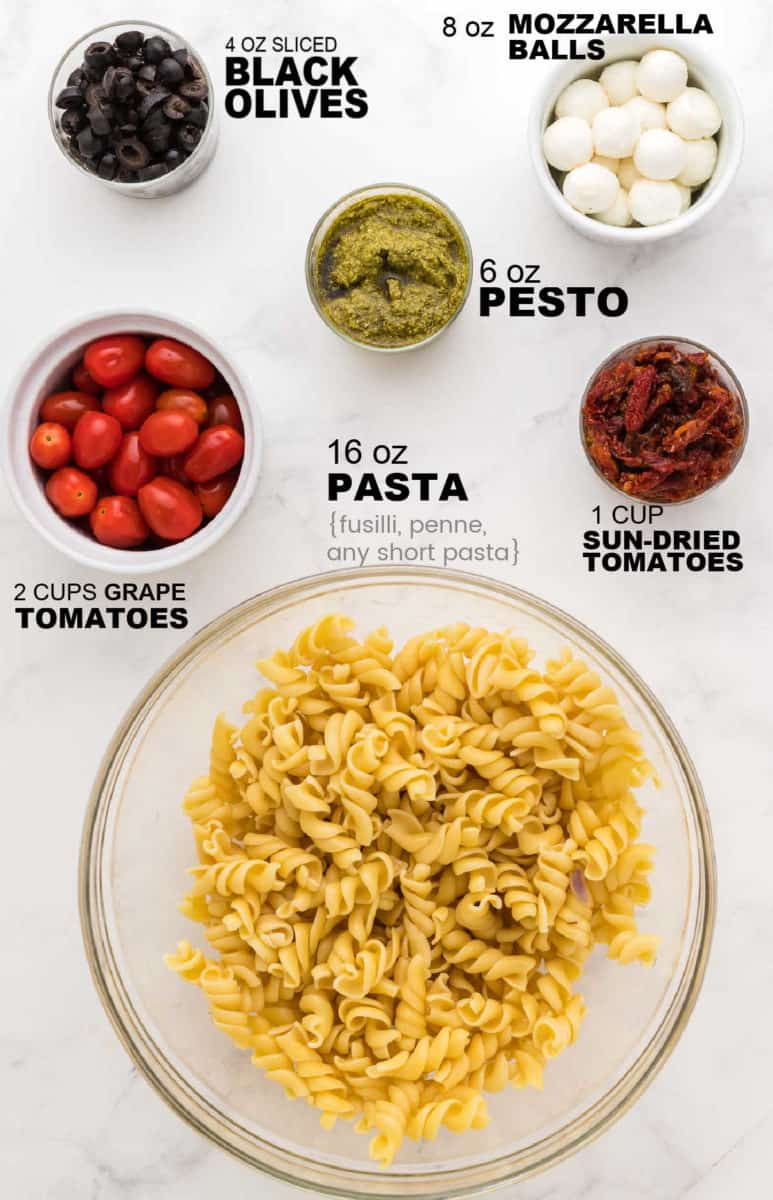 ingredients needed to to make a Pesto Pasta Salad