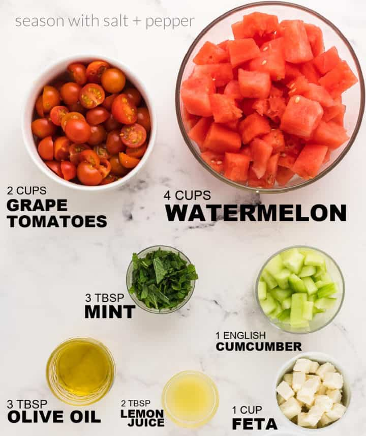 ingredients needed to make a classic Watermelon Salad
