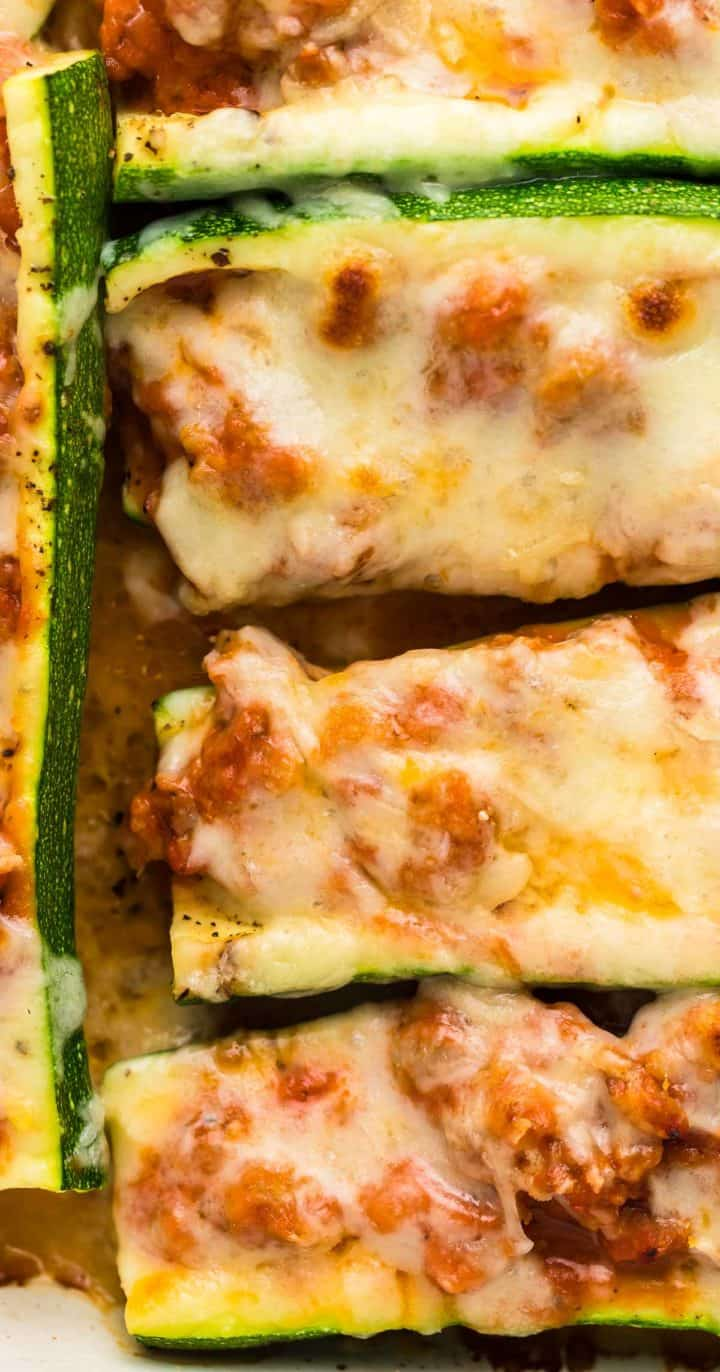 closeup of Zucchini Boats fresh out of the oven