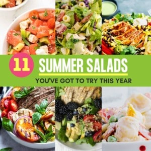 Collage of salads that are part of the Summer Salad Recipe Idea Collection