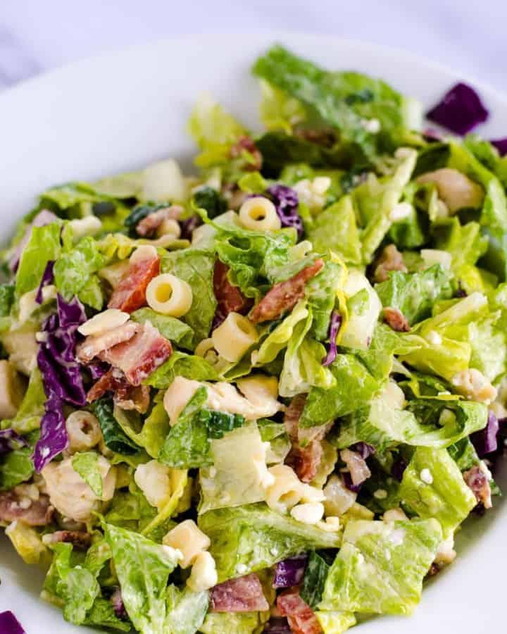 Italian Chopped Salad in a white bowl | fantabulosity.com