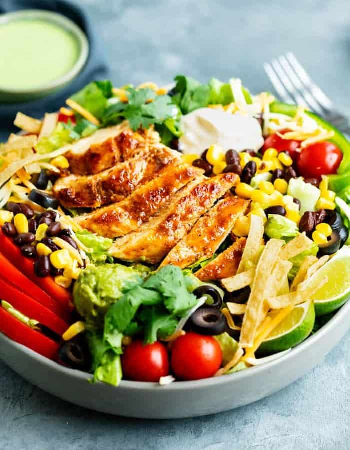 Southwest Salad With Chicken in a blue bowl
