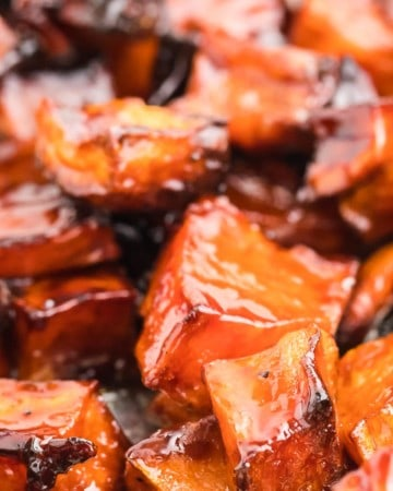 closeup of candied sweet potatoes fresh from the oven