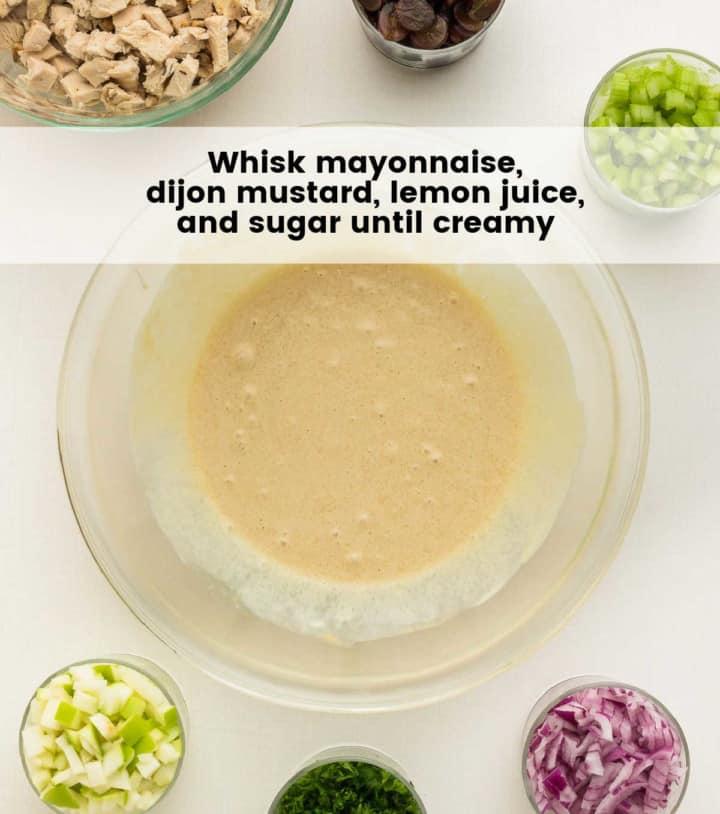 whisked mayonnaise, lemon, sugar, and dijon mustard in a glass bowl