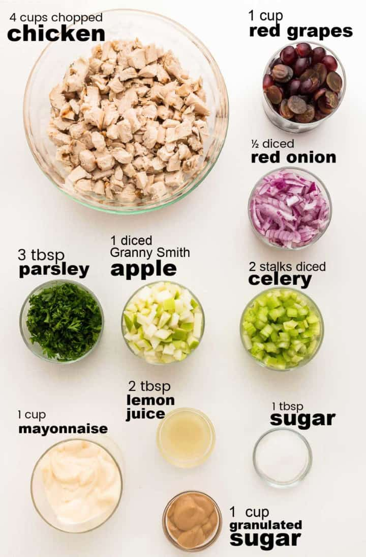ingredients needed to make a classic chicken salad