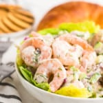 Shrimp Salad in a white bowl