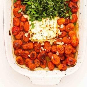 baked feta pasta fresh from the oven