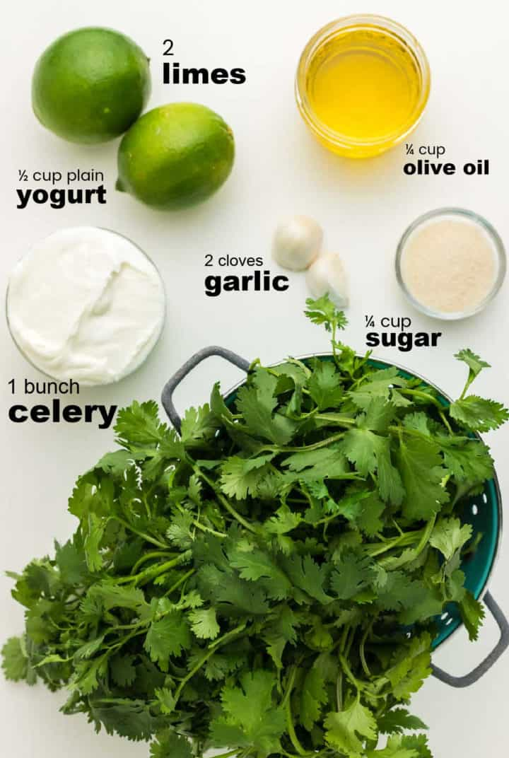 ingredients need to make a homemade creamy cilantro dressing
