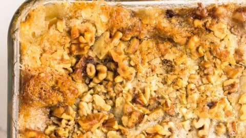 closeup of the freshly baked peach dump cake in a glass baking dish