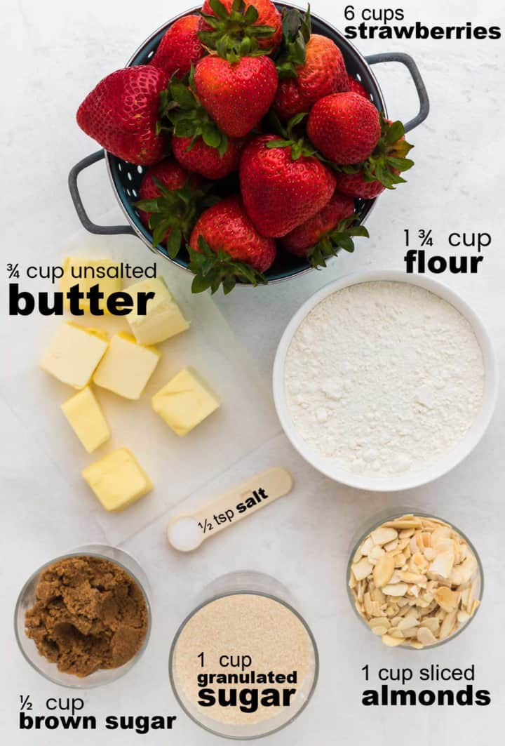 ingredients needed to make a Strawberry Crisp
