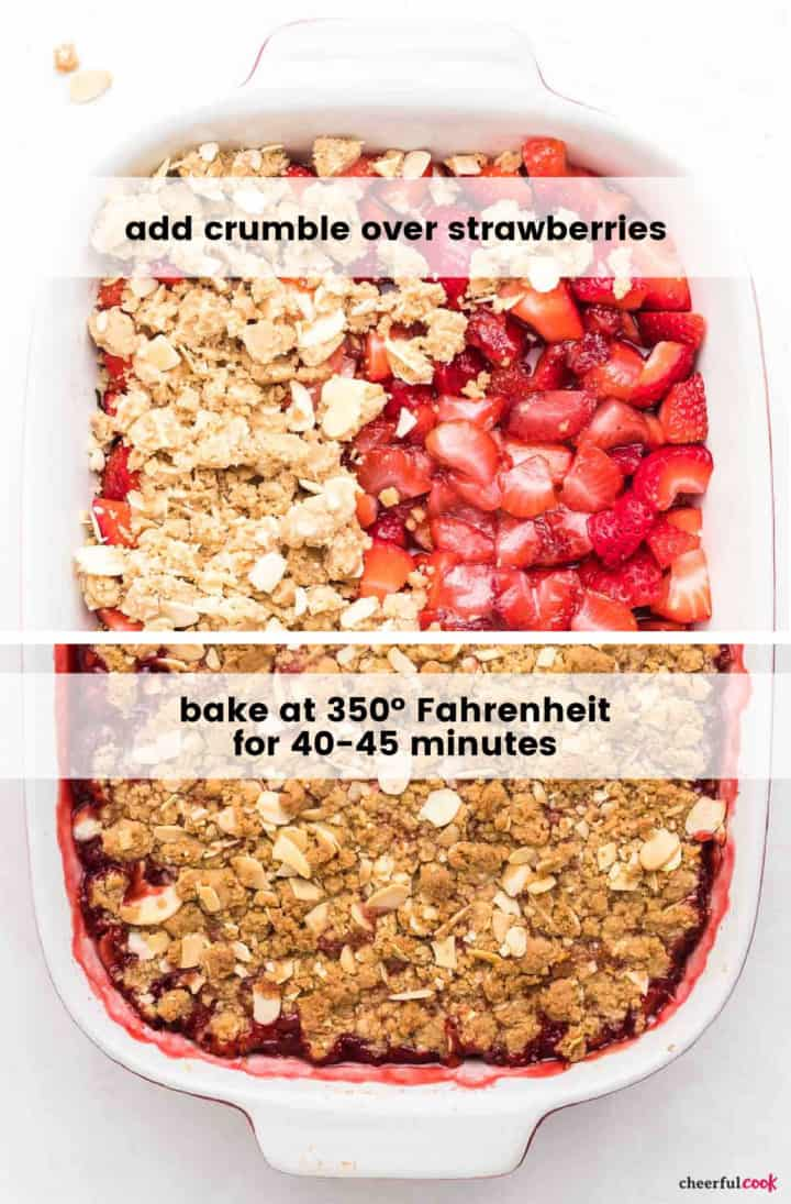 process image (collage): adding the crumble and showing the strawberry crisp after baking