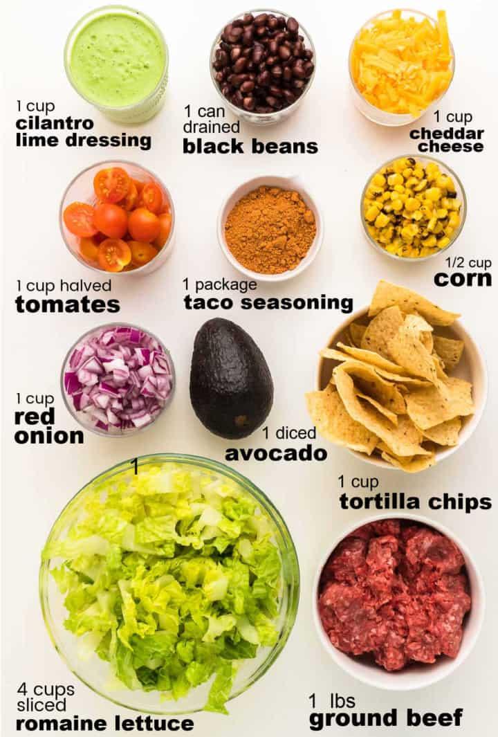 ingredients needed to make Beef Taco Salad