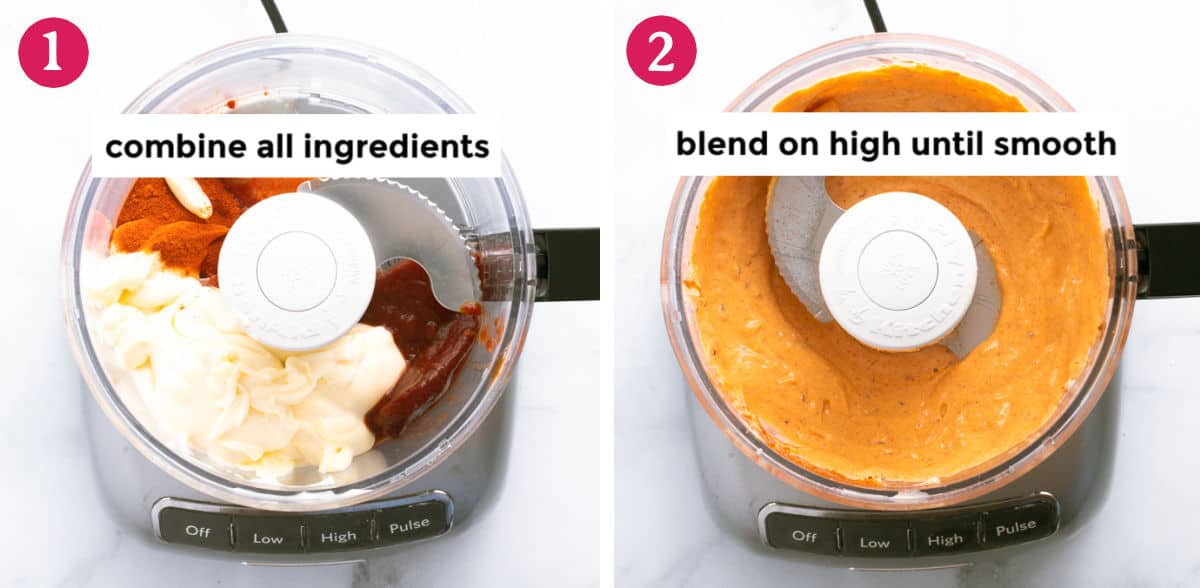 process steps how to make the dip with a food processor
