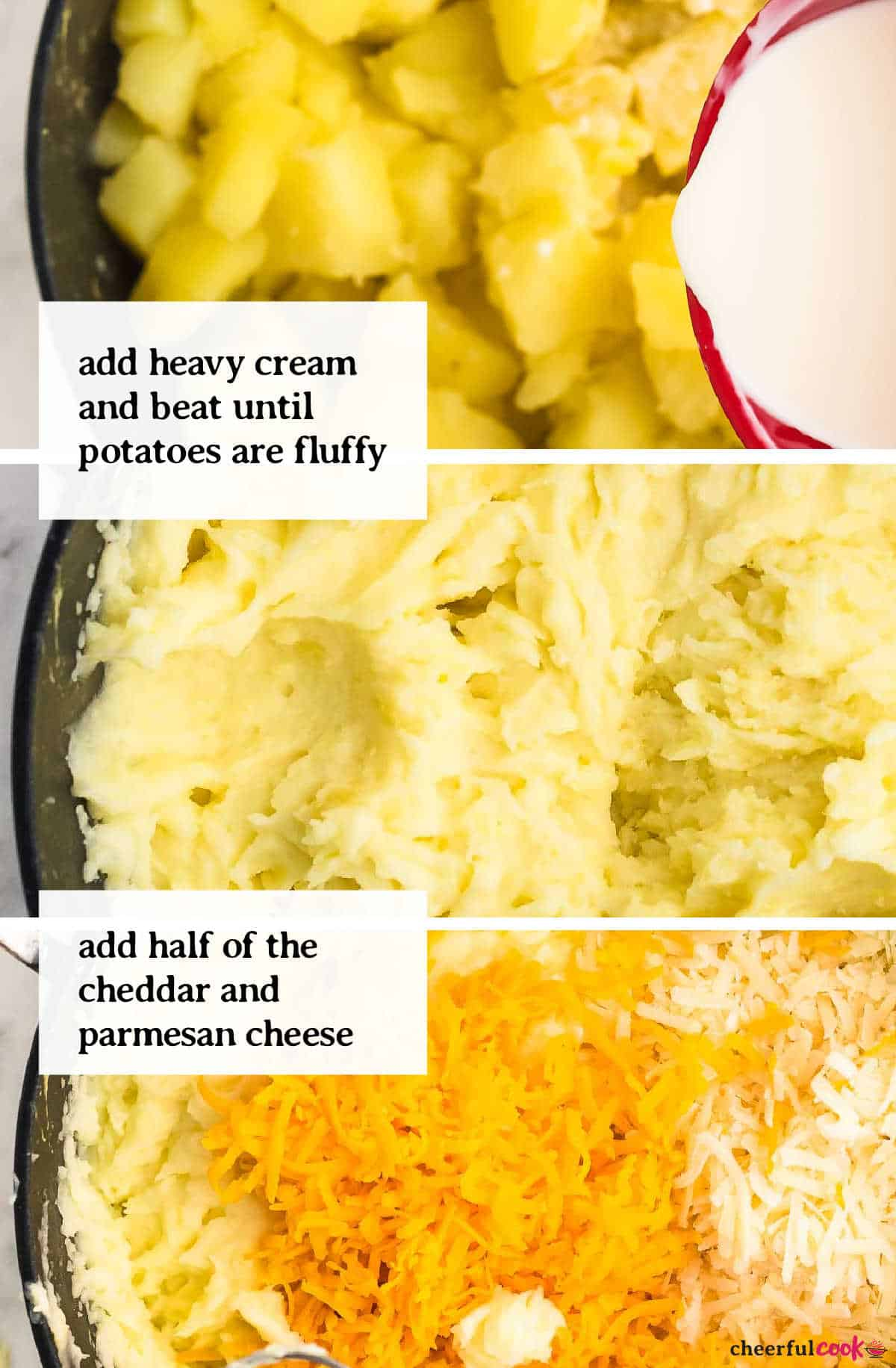 collage: beating in cream and cheese