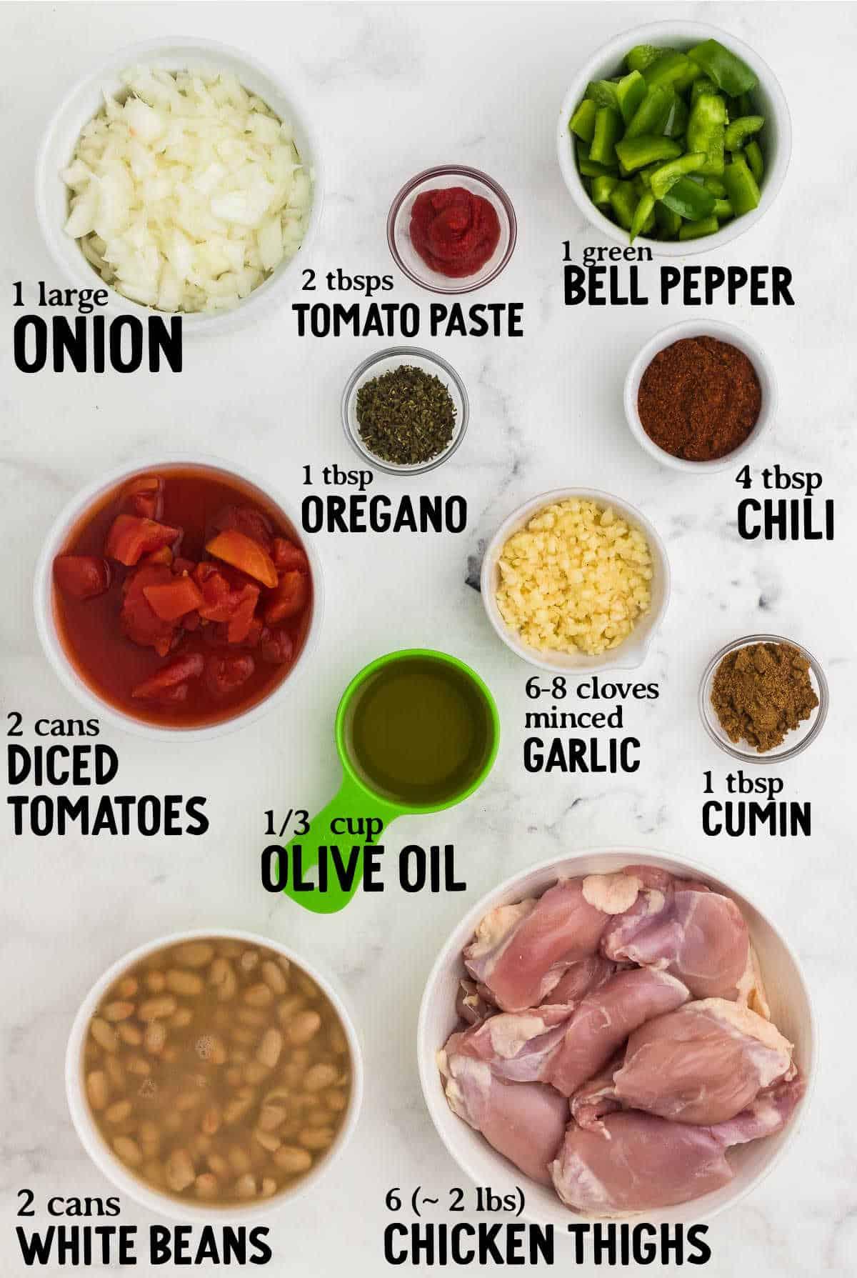 ingredients needed to make chicken chili